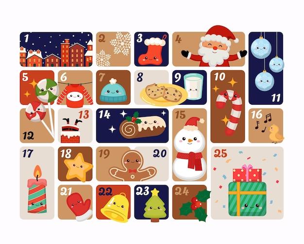 Świąteczny kalendarz adwentowy z uroczymi przedmiotami dekoracyjnymi