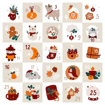Świąteczny kalendarz adwentowy ze świątecznymi dekoracjami i cyframi. motyw bożego narodzenia