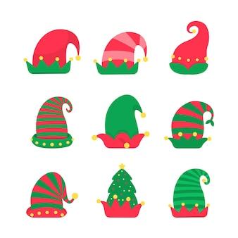 Świąteczny kapelusz. zielona czapka elfa do dekoracji głowy podczas świątecznych przyjęć.