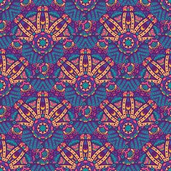Świąteczny kolorowy bezszwowy wektor jasny wzór mandali psychodeliczny doodle
