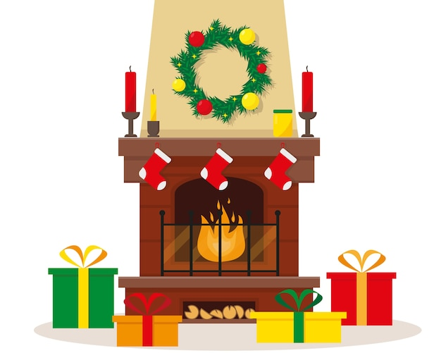 Świąteczny kominek z dekoracją i prezentami