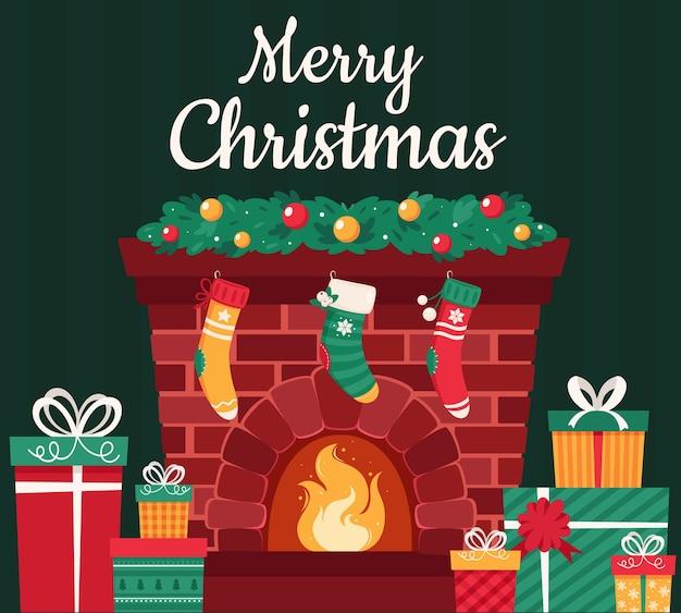 Świąteczny kominek z jodłą prezenty dekoracje pończochy girlanda