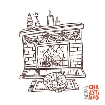 Świąteczny kominek z ogniem, dekoracją i śpiącym kotem.