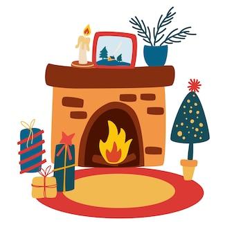 Świąteczny kominek z prezentami i choinką. przytulne ferie zimowe. kartkę z życzeniami szczęśliwego nowego roku. idealny na zaproszenia, łupieżców. ilustracja kreskówka wektor.
