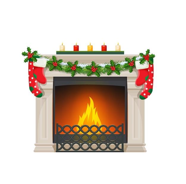 Świąteczny kominek ze skarpetkami, kominek domowy