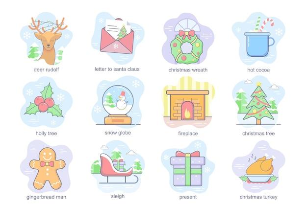 Świąteczny koncept płaski zestaw ikon zestaw listu do świętego mikołaja ostrokrzew śnieżny kula...