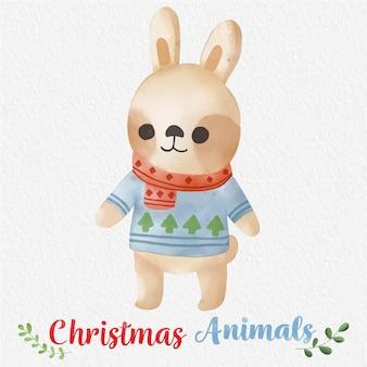 Świąteczny królik akwarela ilustracja z papierowym tłem do projektowania nadruków na tkaninie