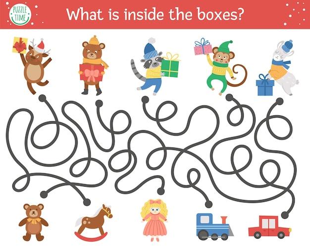 Świąteczny labirynt dla dzieci. aktywność edukacyjna do druku w przedszkolu zima nowy rok. zabawna gra w wakacje lub puzzle z uroczymi zwierzętami, prezentami i zabawkami. co znajduje się w pudełkach?