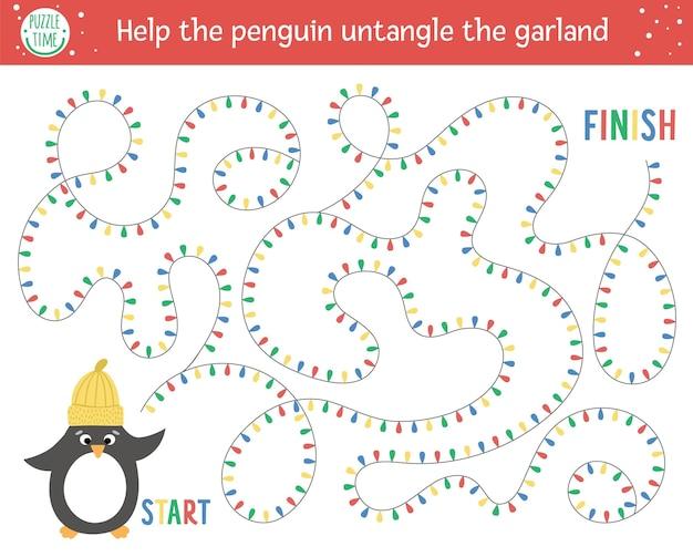 Świąteczny labirynt dla dzieci. aktywność edukacyjna do druku w przedszkolu zima nowy rok. zabawna gra wakacyjna lub puzzle z uroczym ptaszkiem w kapeluszu. pomóż pingwinowi rozplątać girlandę