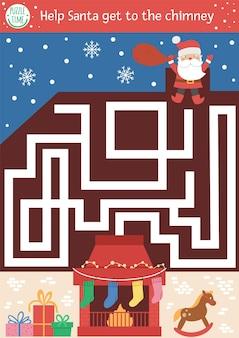 Świąteczny labirynt dla dzieci. aktywność edukacyjna do druku w przedszkolu zima nowy rok. zabawna gra wakacyjna lub puzzle z uroczym świętym mikołajem i kominkiem. pomóż mikołajowi dostać się do komina