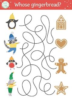 Świąteczny labirynt dla dzieci. aktywność edukacyjna do druku w przedszkolu zima nowy rok. zabawna gra wakacyjna lub puzzle z uroczymi zwierzętami i ciasteczkami. czyje pierniki?