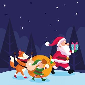 Świąteczny lis z mikołajem i mikołajem z instrumentami muzycznymi i pudełkami prezentowymi