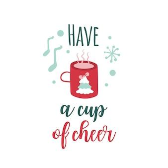 Świąteczny logotyp lub insygnia kreskówka filiżanka gorącej herbaty z choinką mają filiżankę radości