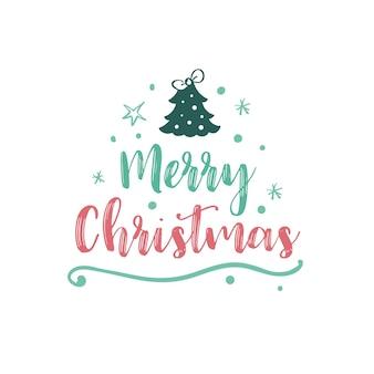 Świąteczny logotyp lub insygnia śliczna kreskówka choinka wesołych świąt