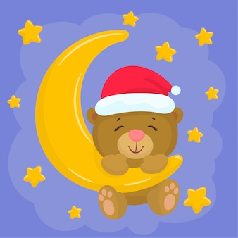 Świąteczny miś na księżycu