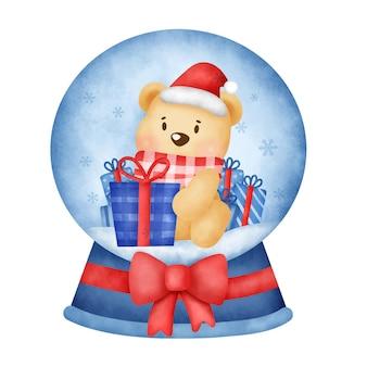 Świąteczny miś śnieżnej kuli w stylu przypominającym akwarele na kartkę z życzeniami.