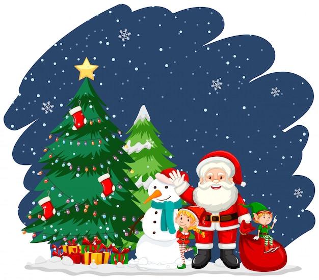 Świąteczny motyw z mikołajem i drzewem