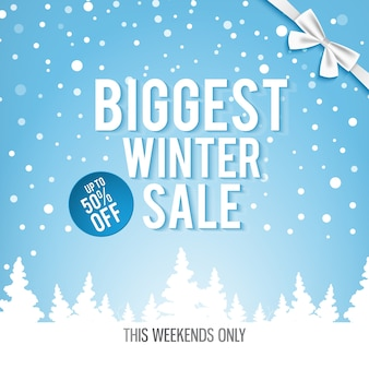 Świąteczny największy baner sprzedaży zimowej z białymi słowami o najlepszych rabatach