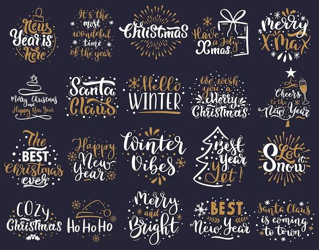 Świąteczny napis. szczęśliwego nowego roku i wesołych świąt pozdrowienie napis zwroty wektor zestaw ilustracji. ręcznie rysowane odznaki z literami bożonarodzeniowymi