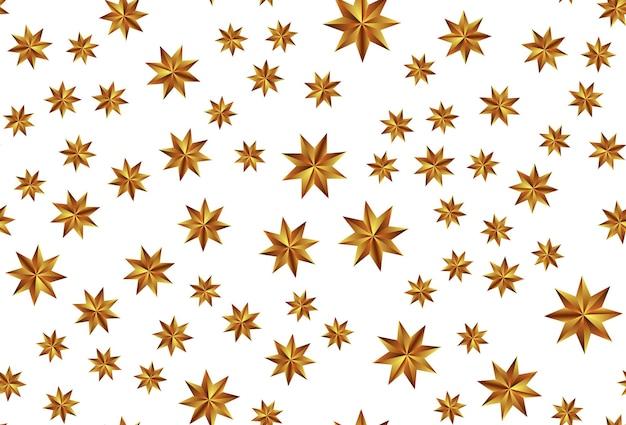 Świąteczny nowy rok i wesołych świąt bezszwowe tło wzór ze złotymi gwiazdami