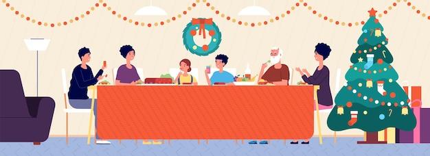 Świąteczny obiad rodzinny. wakacyjne wnętrze salonu, tradycyjne jedzenie. seniorzy, dzieci siedzą przy świątecznym stole ilustracji wektorowych. rodzinna uczta tradycyjny nowy rok i święta