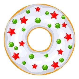 Świąteczny pączek biały pączek ozdobiony jest słodkimi świątecznymi czerwonymi gwiazdkami i zielonymi balonikami