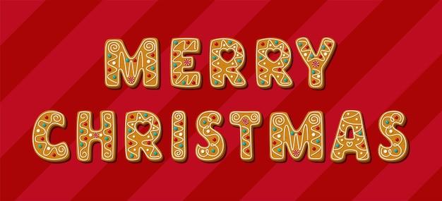 Świąteczny piernik wesołych świąt fraza domowe ciasteczka wektor