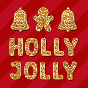 Świąteczny piernik z ostrokrzewem wesoła fraza i domowe ciasteczka na drzewie
