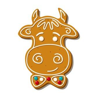 Świąteczny piernikowy byk. domowe ciasteczka. ilustracja wektorowa