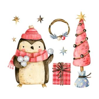 Świąteczny pingwin z śnieżkami nowy rok ilustracja