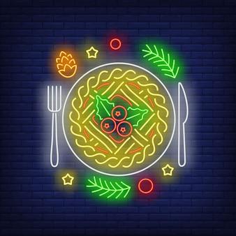 Świąteczny placek neon znak