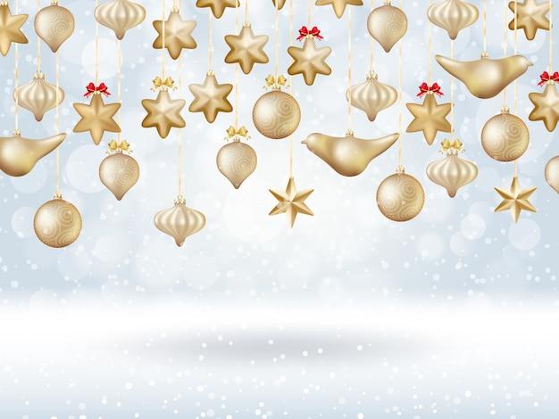Świąteczny plakat bokeh z choinką ze złotych bombek.