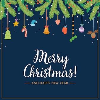 Świąteczny plakat na ciemnym tle świąteczna girlanda z zabawkami