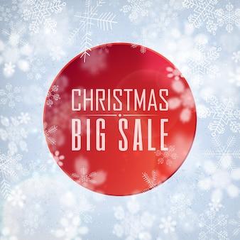 Świąteczny plakat promocyjny z białymi literami o rabatach w sklepach na ilustracji ozdobionej płatkami śniegu
