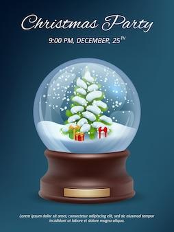 Świąteczny plakat. przezroczysty szablon afisz z zaproszeniem na przyjęcie bożonarodzeniowe, krystalizujący się magiczna śnieżka