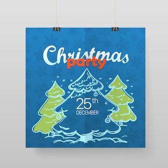 Świąteczny plakat wektor party. ogłoszenie imprezowe. kartkę z życzeniami świątecznymi