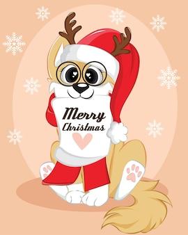Świąteczny plakat z psem. ładny zimowy tło z tekstem wesołych świąt.