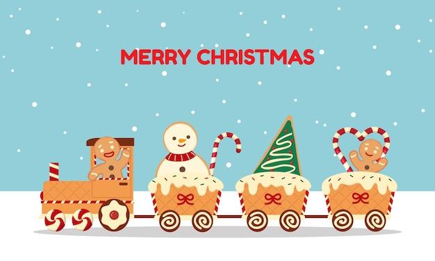 Świąteczny pociąg wykonany z pierników i cukierków powitanie w stylu płaskiej kreskówki