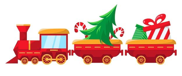 Świąteczny pociąg z dużą torbą z prezentami dla dzieci w wagonie