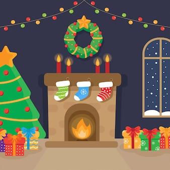 Świąteczny pokój z kominkiem, choinką i prezentami.