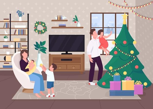 Świąteczny poranek płaski kolor. zdobione wiecznie zielone drzewo. życie hygge. zabawa z dziećmi. szczęśliwe postaci z kreskówek 2d z tradycyjnie urządzonym wnętrzem świątecznego domu na tle
