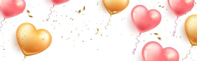Świąteczny poziomy baner z różowymi i złotymi balonami w kształcie serca, konfetti i serpentyną. walentynki