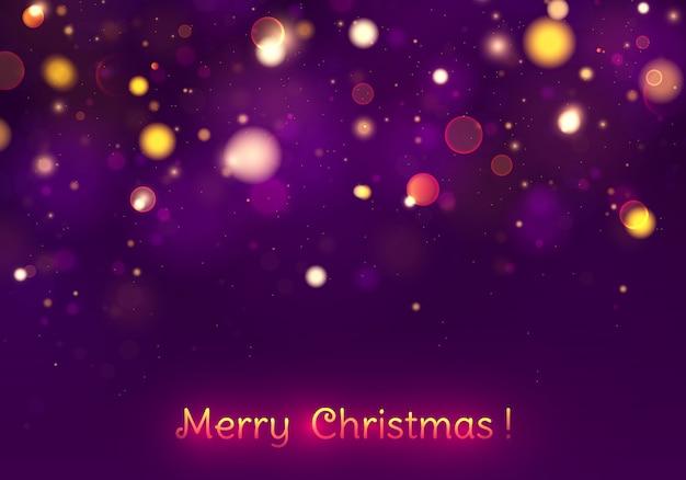 Świąteczny purpurowy i złoty świecący tło z kolorowym światła bokeh.