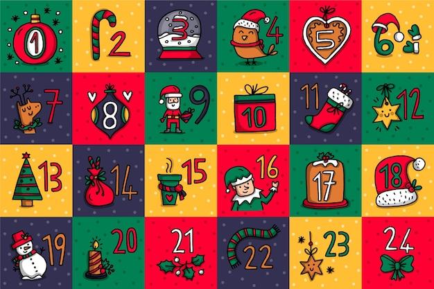 Świąteczny ręcznie rysowane kalendarz adwentowy