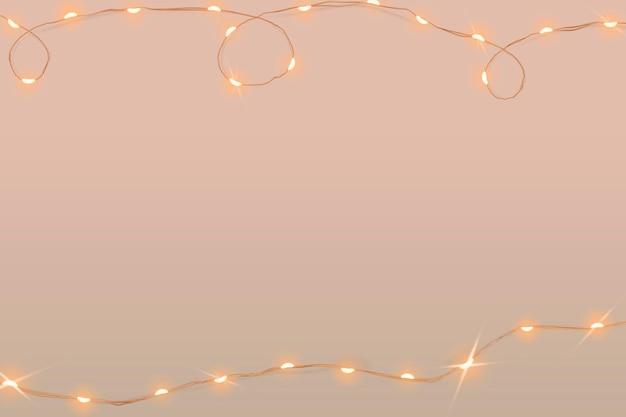 Świąteczny różowy wektor tła ze świecącymi przewodowymi światłami