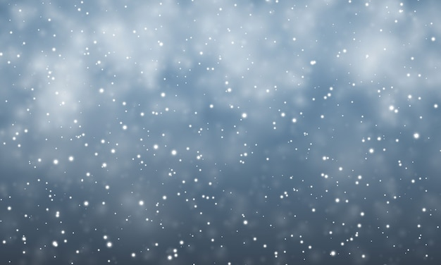 Świąteczny śnieg. spadające płatki śniegu na ciemnym niebieskim tle. opad śniegu.