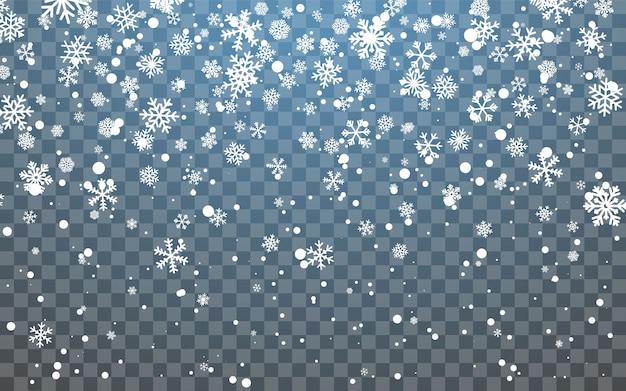 Świąteczny śnieg. spadające płatki śniegu na ciemnym tle. opad śniegu.
