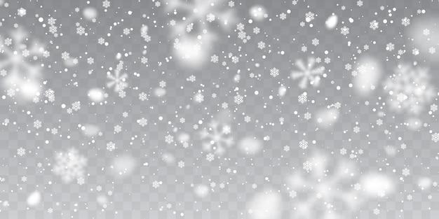 Świąteczny śnieg. spadające płatki śniegu na przezroczystym tle. opad śniegu.