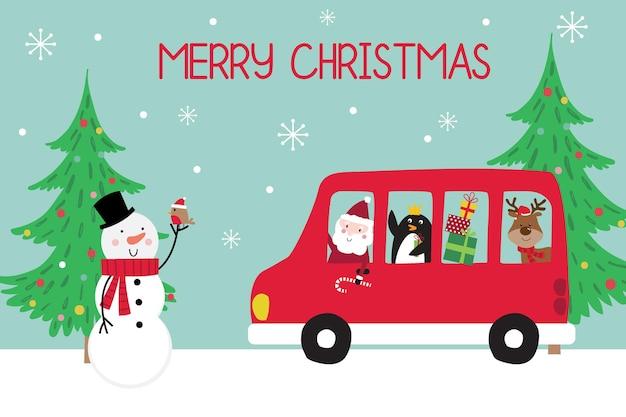 Świąteczny świąteczny autobus ze świętym mikołajem i uroczymi postaciami