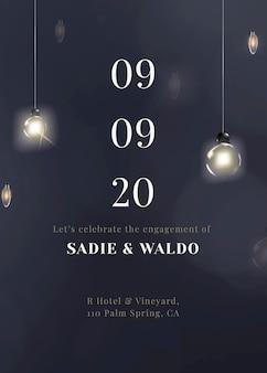 Świąteczny szablon karty z zaproszeniem do edycji z pięknymi lampkami smyczkowymi